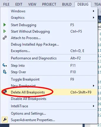 Visual Studio 2013 Delete All Breakpoints