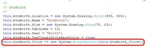 Code in the code-behind page for SuperAdventure.cs that connects the 'North' click button to the function to run when it is clicked.