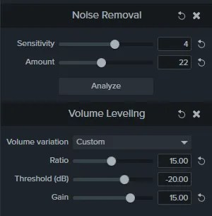 Custom Volume Leveling settings