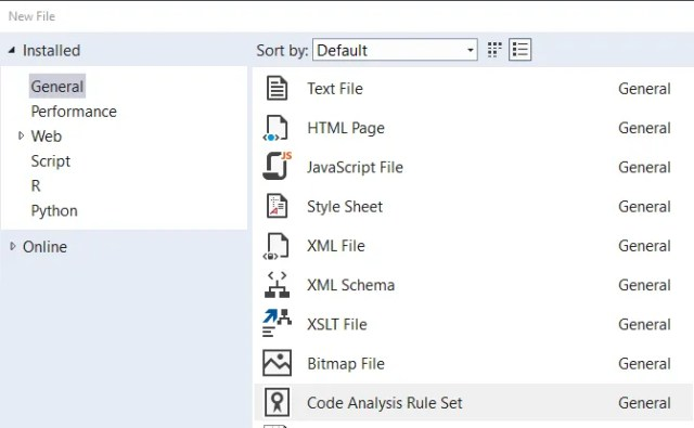 Visual Studio - create new ruleset