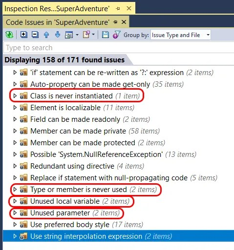 ReSharper - code issues results