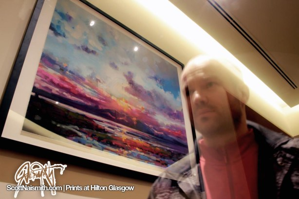 Arran Sky Print with artist Scott Naismith at Hilton Glasgow