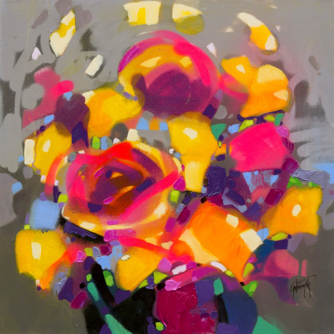Optimism Bouquet floral abstract painting by Scott Naismith