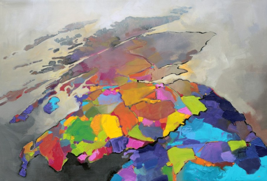 Optimism Scotland a painting of the map of Scotland by Scott Naismith