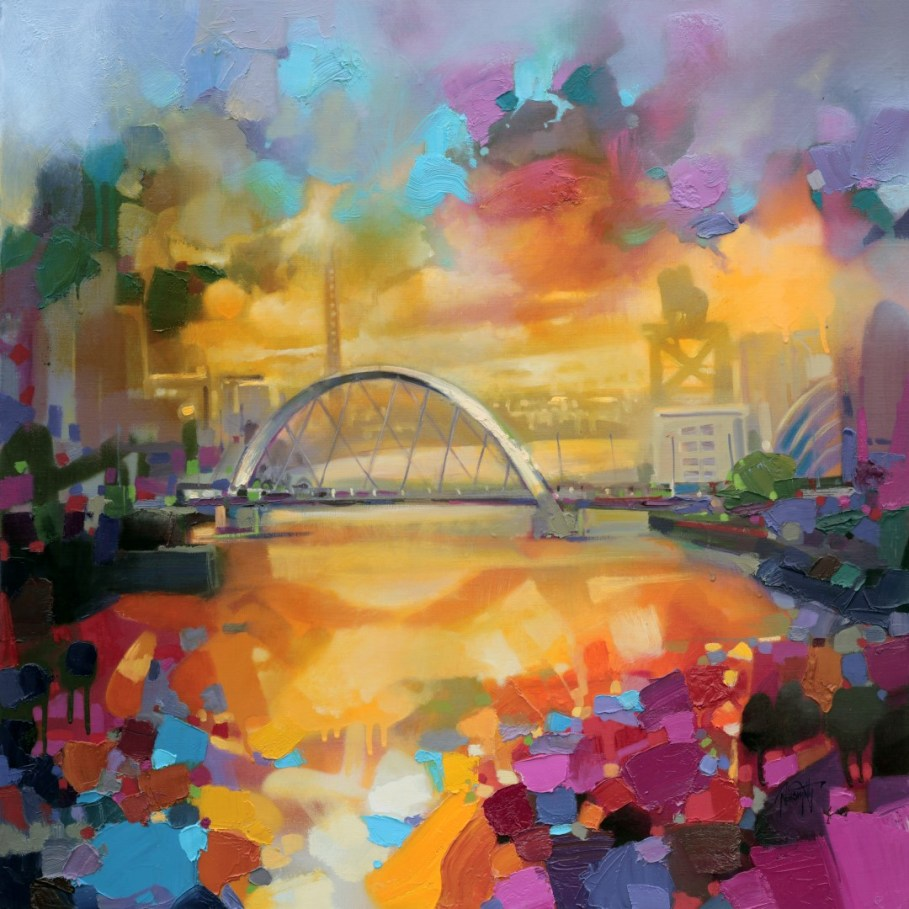 Glasgow 2014 painting of the Clyde Arc Bridege by Scott Naismith