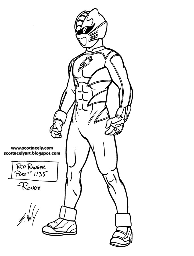 Free red samurai ranger coloring pages