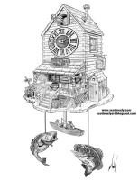 Cuckoo Clock Drawing Sketch Coloring Page