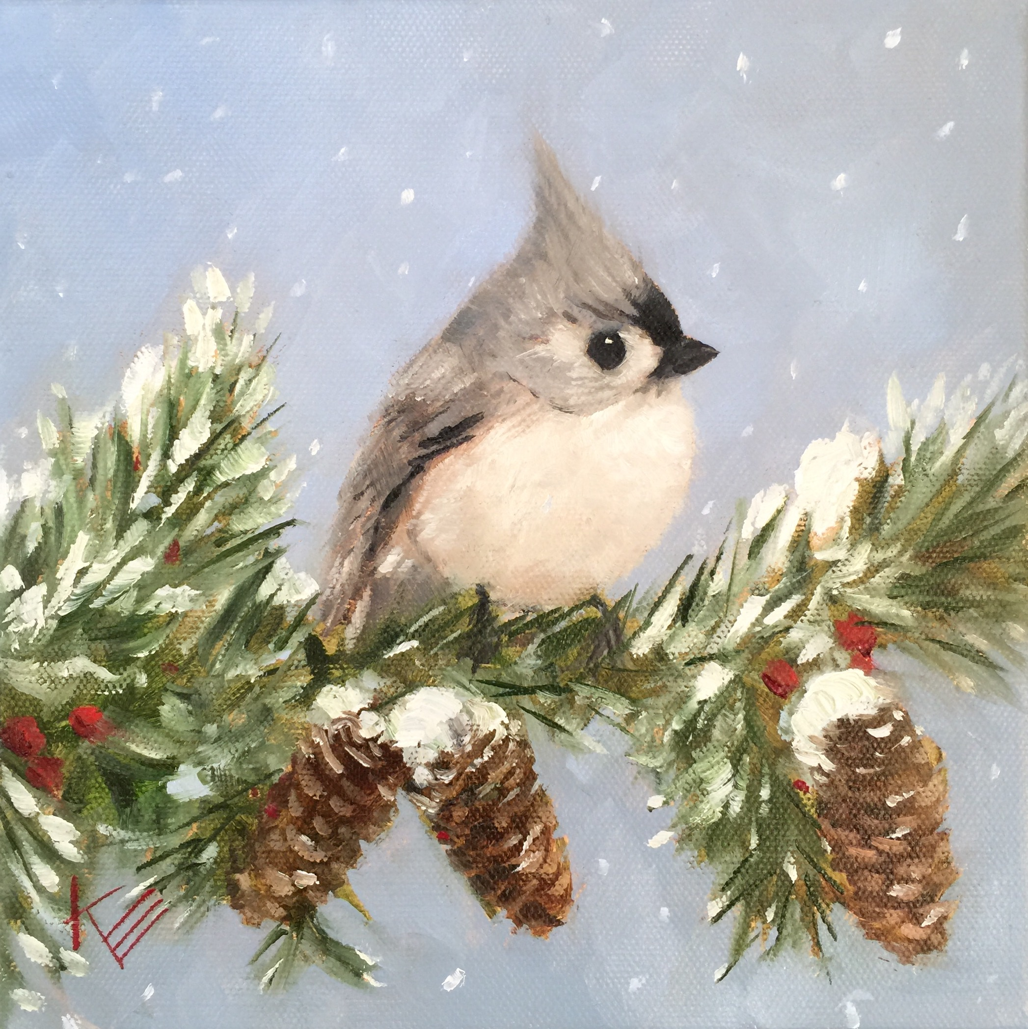 Christmas Wallpaper Snow Falling Scottsdale Artists School Painting Winter Birds One Day