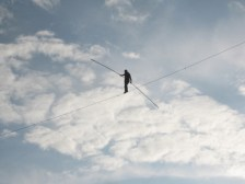 A person walking on a tightrope