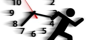 Clock spinning fast and a stick figure running by