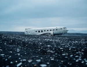 Old crashed and abandoned airplane