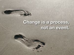"Picture of footprints with a quote that says ""change is a process not an event"""