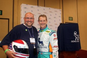 Picture of Scott & Charlie Kimball - Scott's holding Charlie's racing helmet (very cool!)