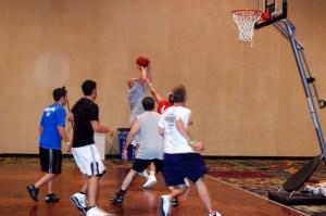 Action shot playing basketball at FFL 2010