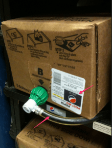 Showing a box of Pepsi syrup connected to where the Diet Pepsi belongs