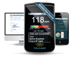 Image of the Telcare meter, webpage, and mobile app