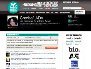 Screenshot of Cherise on the Shorty Awards