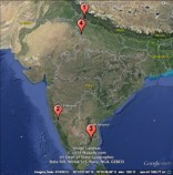A map of India with pins showing the clinic locations we visited