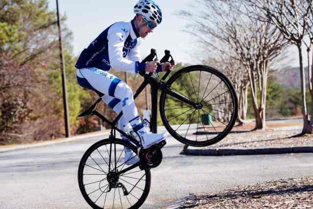Oliver Behringer doing a wheelie for the camera