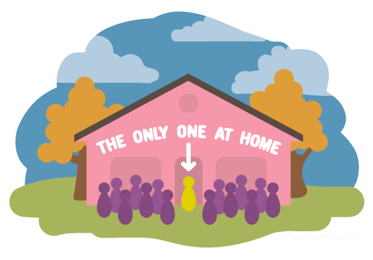 Graphic showing that only the homeowner is at home at his/her party