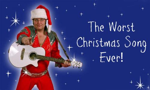 Photo of Elvis Santa with white guitar