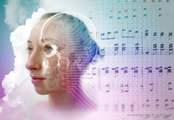 Composite image of music flowing from a girls mind.