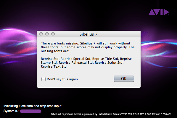 Sibelius 7 error dialog window