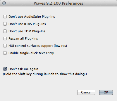 screen grab of Waves 9.2.100 Preferences dialog window