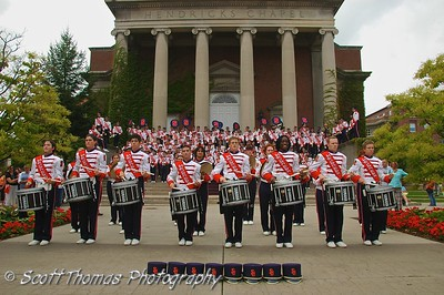 The Syracuse University Marching Band in front of Hendricks Chapel.