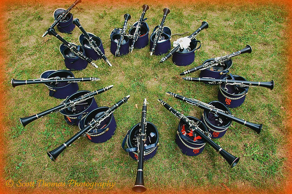 A circle of clarinets of the Syracuse University Marching Band.
