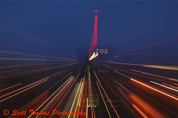 AXA Tower in Syracuse, New York, during a long zoomed exposure.
