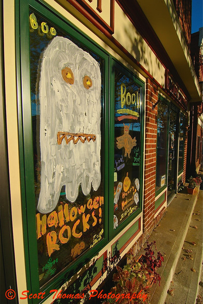 An entry in the annual Halloween Window Painting Contest in Baldwinsville, New York