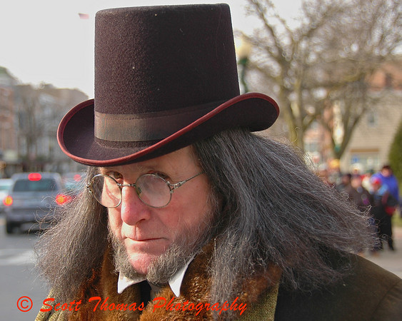 Ebenezer Scrooge, brought to life by actor Robert Krigbaum, gives me his humbug look during the Dickens Christmas in Skaneateles.