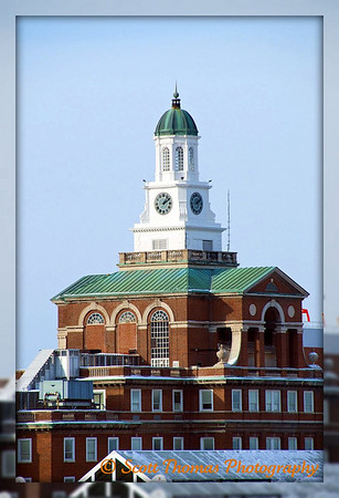 Crouse Hospitals clock tower as seen from the Syracuse University campus, Syracuse, New York.