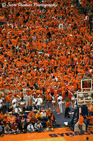 Some of the Syracuse University Student section showing their colors at the Georgetown game.