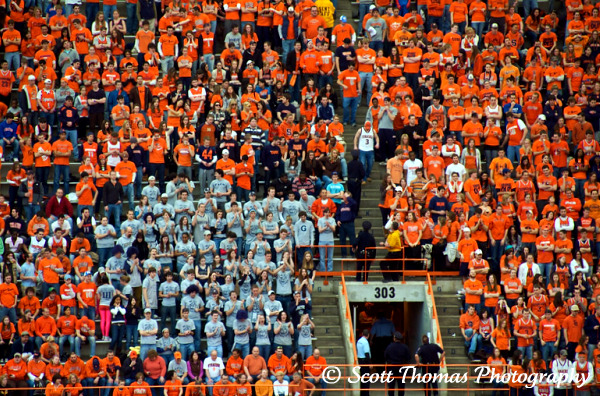 A small group of Georgetown fans break up the Orange Out but watched as their team lost in overtime.