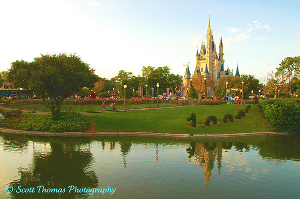 Cinderella Castle in the glow of the late afternoon Florida sunshine in Walt Disney Worlds Magic Kingdom.