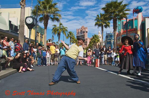 Streetmosphere performers entertain guests on Sunset Blvd. in Disneys Hollywood Studios.