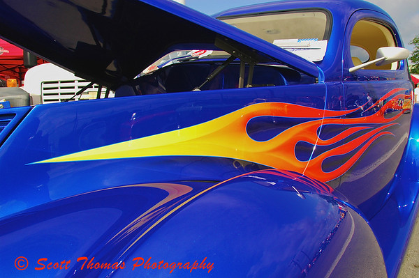Flames and bright colors are what draw me to hot rod.  Clock on photo to see the entire car.