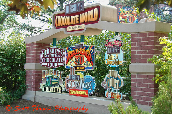 Hersheys Chocolate World entrance sign just outside HersheyPark in Pennsylvania.