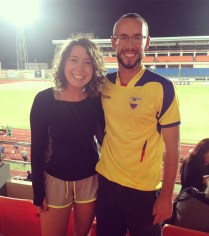 Myself with fellow Peace Corps Volunteer, Sarah Bowman, at the Grenada vs. Panama football match.