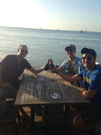 The first night they arrived, we went to a beachside restaurant for dinner and drinks at Grand Anse.