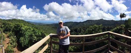 Myself at a viewpoint in Grand Etang National Park.