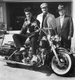 elvis takes delivery of his 1957 harley davidson flh with sales and service manager big al mcalexander and b w barfield mr b of the memphis  [ 1024 x 833 Pixel ]