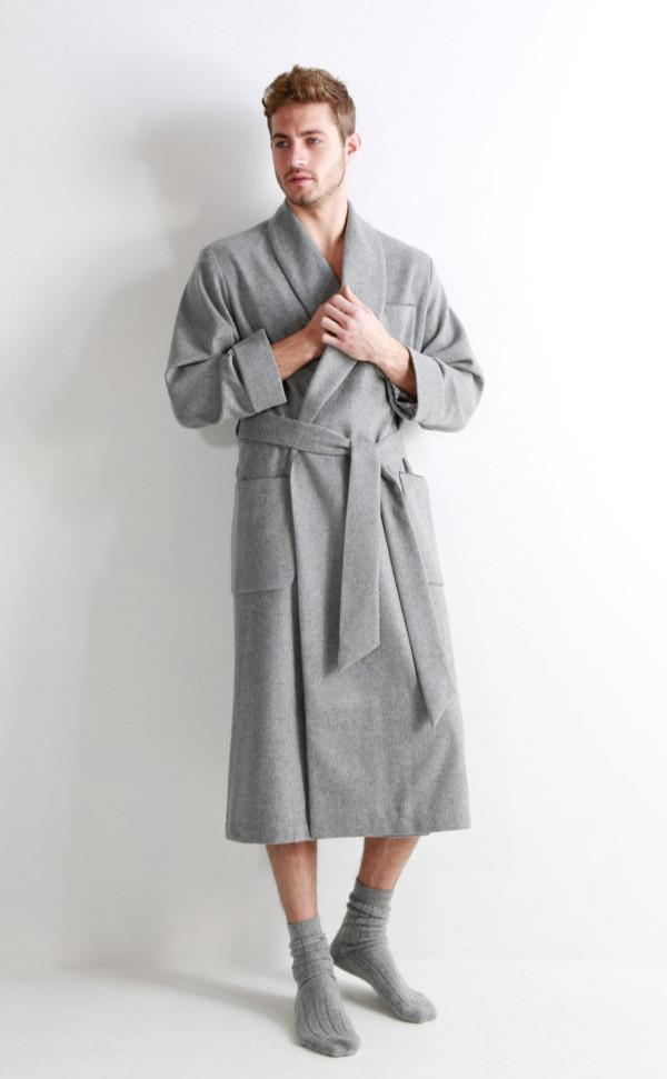 Mens Cashmere Dressing Gown with Jacquard Silk Lining by