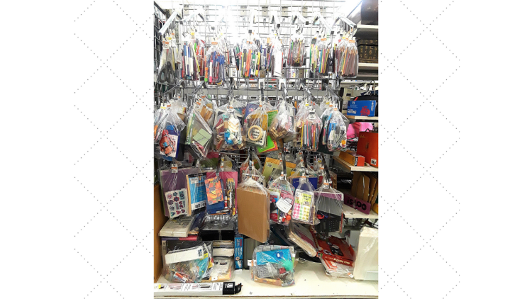 thrift shop bundle bags full of art and office supplies