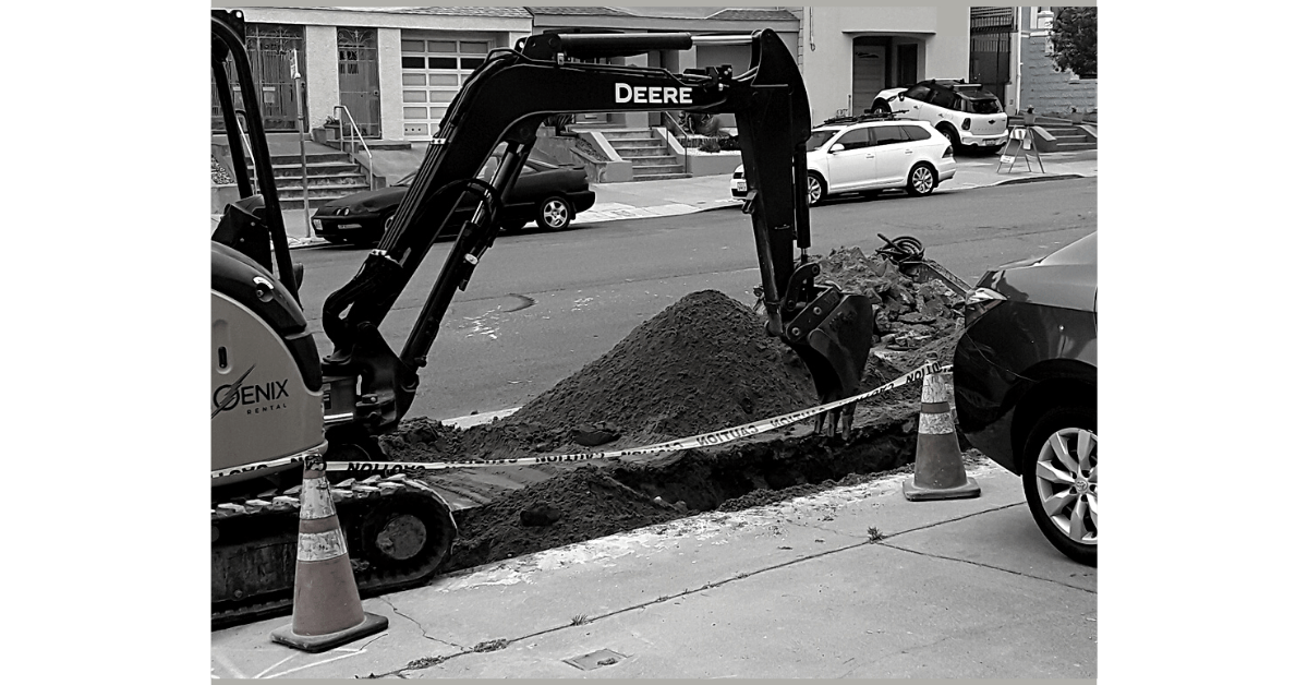 Reason for resorting to connecting with loved ones by phone or video: car driveway blocked by a road work excavator