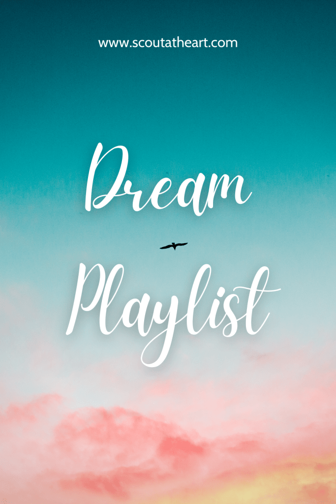 White script font on a blue sky with pink clouds background