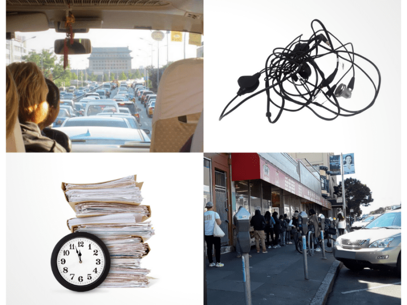 Stuck in traffic, tangled head set, work and deadline, long line