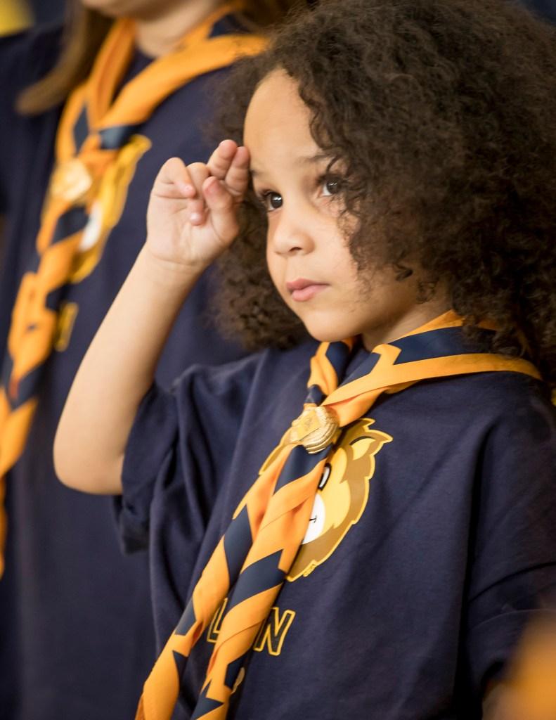 Cub Scout saluting
